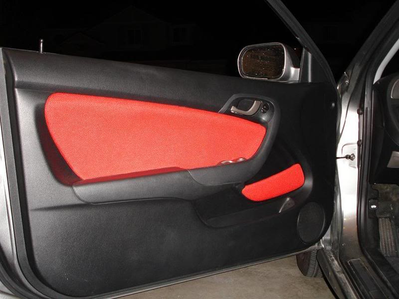 2006 Acura RSX with FiberUpholstery\u0027s Door Inserts and Pocket Inserts in red & Fiber Upholstery